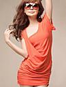 recent fermecător elegant de culoare pură rochie portocalie