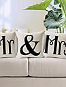set om 3 mr&mrs bomull / linne dekorativa örngott