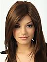 Capless högkvalitativa ganska mellan rakt brunt hår peruk