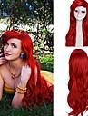 kvinnors mörkröd lockiga lilla sjöjungfrun prinsessan ariel syntetisk cosplay peruk extra lång