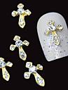 10st guld svärd 3d klar rhinestone DIY tillbehör legering nail art dekoration
