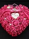 hartvorm roos bloem parel ring box kussen voor bruiloft (26 * 26 * 13cm) koraal bruiloft