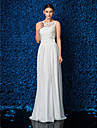 Lanting Bride Sheath/Column Petite / Plus Sizes Wedding Dress-Floor-length Jewel Chiffon / Lace