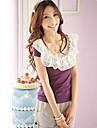sweety guler de dantelă frunze de lotus cu maneci scurte tricou violet