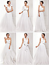 A-line/Princess Plus Sizes Wedding Dress - Ivory Sweep/Brush Train One Shoulder Chiffon