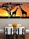e-Home® giraffen och trädet klockan i canvas 3st