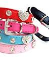 Katter / Hundar Halsband Bergkristall Röd / Svart / Blå / Rosa / Ros PU Läder