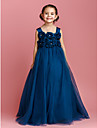 Lanting Bride® Ball Gown Floor-length Flower Girl Dress - Satin Tulle Sleeveless Straps with Bow(s) Crystal Detailing Flower(s)