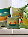 5 pcs Coton/Lin Housse de coussin,Imprime animal Moderne/Contemporain