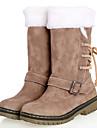 Pantofi pentru femei - Imitație de Piele - Toc Jos - Cizme Zăpadă / Vârf Rotund - Cizme - Casual - Maro / Bej