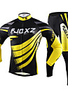 FJQXZ Men's Cycling Jersey + Tights (Suits) Long Sleeve Winter Autumn Polyester Mesh Jersey Lycra Cushion Tights Breathable