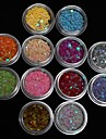 12st färger stjärnan glitter skiva liten nail art dekoration