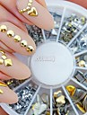 240pcs Nail Art or rivet mixte faconne strass acrylique