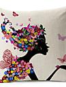 flicka fjäril och blommönster bomull / linne dekorativa örngott