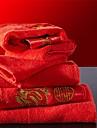 sensleep® 2st handdukar Pack, röda broderier festival design för bröllop 100% bomull handduk