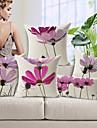 uppsättning av fem eleganta ljuslila blommönster bomull / linne dekorativa örngott
