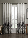Two Panels Country Floral / Botanical Grey Bedroom Polyester Curtains Drapes