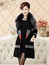 Fur Coats Fashion Long Sleeve Fox Fur Turndown Collar Evening / Career Mink Fur Coat