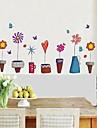 väggdekorationer Väggdekaler blomkruka stil dekorativa sticker