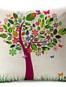 färgglada träd mönster bomull / linne dekorativa örngott