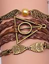 bracelets eruner®leather hibou et ailes en alliage multicouche charmes bracelets faits main