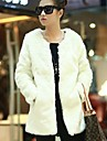 Fur Coats Faux Fur Fashion Long-Sleeved Collarless Jacket