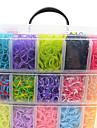 12000pcs colores bricolage style metier de couleur arc-en-bracelets de la bande de silicone 12000pcsbands, 12s-clips, une metiers, 1hook + 1box