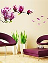 väggdekorationer Väggdekaler, naturliga romantiska mangnolia pvc väggdekorationer