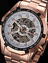 FORSINING Bărbați Ceas de Mână ceas mecanic Mecanism automat Gravură scobită Placat Cu Aur Roz Oțel inoxidabil Bandă Luxos Roz auriuAlb