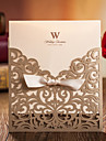 Classic Cutout Z-Fold Wedding Invitation with Ribbon-Set of 20/50