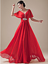 Formal Evening Dress Plus Size A-line V-neck Floor-length Chiffon with