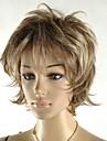 la mode feminine droite courte perruque pelucheux brun fonce