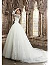 A-line Petite / Plus Sizes Wedding Dress Court Train Bateau Satin with