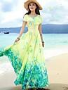 Vestito Da donna-Spiaggia Con stampe Maxi Manica corta Giallo Estate