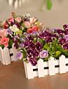 """6.3 """"l 6.3"""" h härliga multicolor gyllene rosor i vitt staket"""