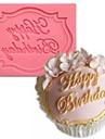 grattis på födelsedagen formade fondant tårta choklad silikonform, cupcake dekoration verktyg, l7.3cm * w5.6cm * h0.7cm