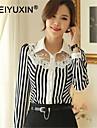 WEIYUXIN Women\'s Casual Stripe Lace Work Long Sleeve Shirts