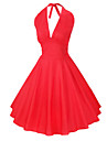Maggie Tang Women\'s Halter 50s Vintage Rockabilly Marilyn Pinup Cos Party Swing Dress,Plus Size