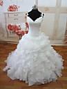 A-Linie Hochzeitskleid Vintage Inspirationen Hof Schleppe V-Ausschnitt Organza mit