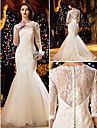 Lanting Bride® Trumpet / Mermaid Petite / Plus Sizes Wedding Dress See-Through Wedding Dresses Sweep / Brush Train Scoop Lace with