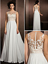 Lanting A-line Wedding Dress - Multi-color Floor-length Jewel Lace/Satin Chiffon
