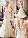 Trumpet/Mermaid Wedding Dress - Ivory Court Train Queen Anne Lace/Stretch Satin