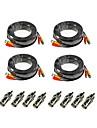 annke® 4-pack 100ft 30m audio video effekt övervakningskamera förlängningskablar med bonus bnc RCA-kontakter