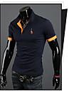Kort ärm - T-Shirts ( Bomullsblandning )till MÄN Skjortkrage - Casual