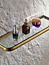 Antique Brass Wall Mounted Bathroom Glass Shelves