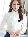 Blusa Da donna Formali Vintage Primavera,Tinta unita Colletto alla coreana Poliestere Bianco / Nero Manica lunga Medio spessore