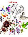 10 PCS - Series animales/Series de fleur/Autres - Multicolore - Motif - 25*11cn - en Papier - Tatouages Autocollants