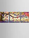 e-Home® sträckta canvas konst färg abstrakta träd dekorativt måleri uppsättning av 3