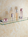 Elegant Brass Material Single Glass Bathroom Shelves