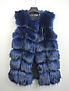 Fur Vests Vests Sleeveless Faux Fur Black/Lilac/Gray/Blue